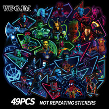 купить 49pcs Luminous Marvel Hero Sticker Cartoon Graffiti Sticker Suitcase Luggage Laptop Guitar Stickers Waterproof  Stickers дешево