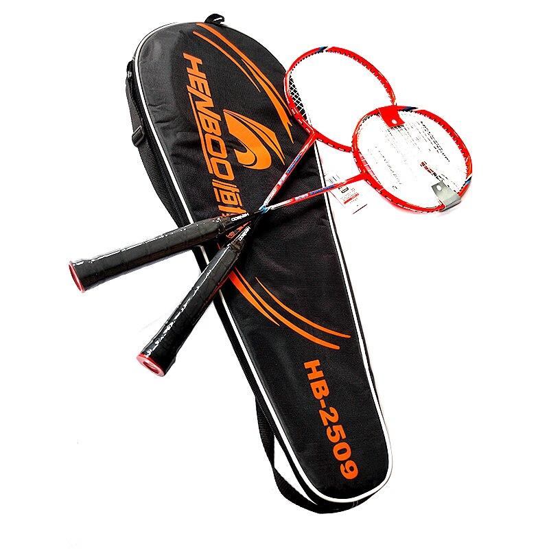 HENBOO Badminton Racket Set Aluminum Alloy Family Double Professional Badminton Racket Lightest Standard Use Badminton 2509