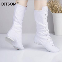 High-Dance-Boots Karate-Shoes Sneakers Women Canvas Jazz Yoga-Fitness Lace-Up for Studios
