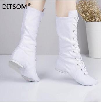 Płótno wysokie buty do tańca dla studiów tańca sznurowane Jazz taniec uliczny Boot Gym joga Fitness Karate buty trampki do tańca kobiet 45 tanie i dobre opinie DITSOM WOMEN Buty do jazzu Profesjonalne Cotton Fabric Adult Koturny Średnia (B M) Niski (od 3 4 do 1 1 2 cala) Dobrze pasuje do rozmiaru wybierz swój normalny rozmiar