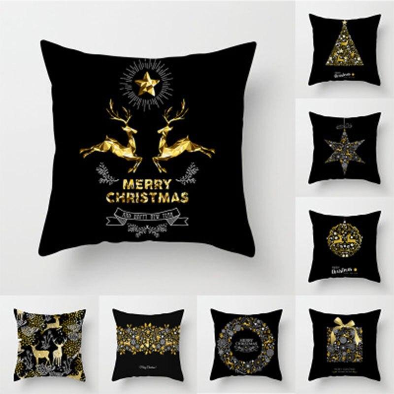 Pillow Case 45*45 Christmas Pillow Case Black Gold Christmas Print Polyester Pillow Case