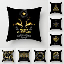 Pillow case 45*45 Christmas Case Black Gold Print Polyester