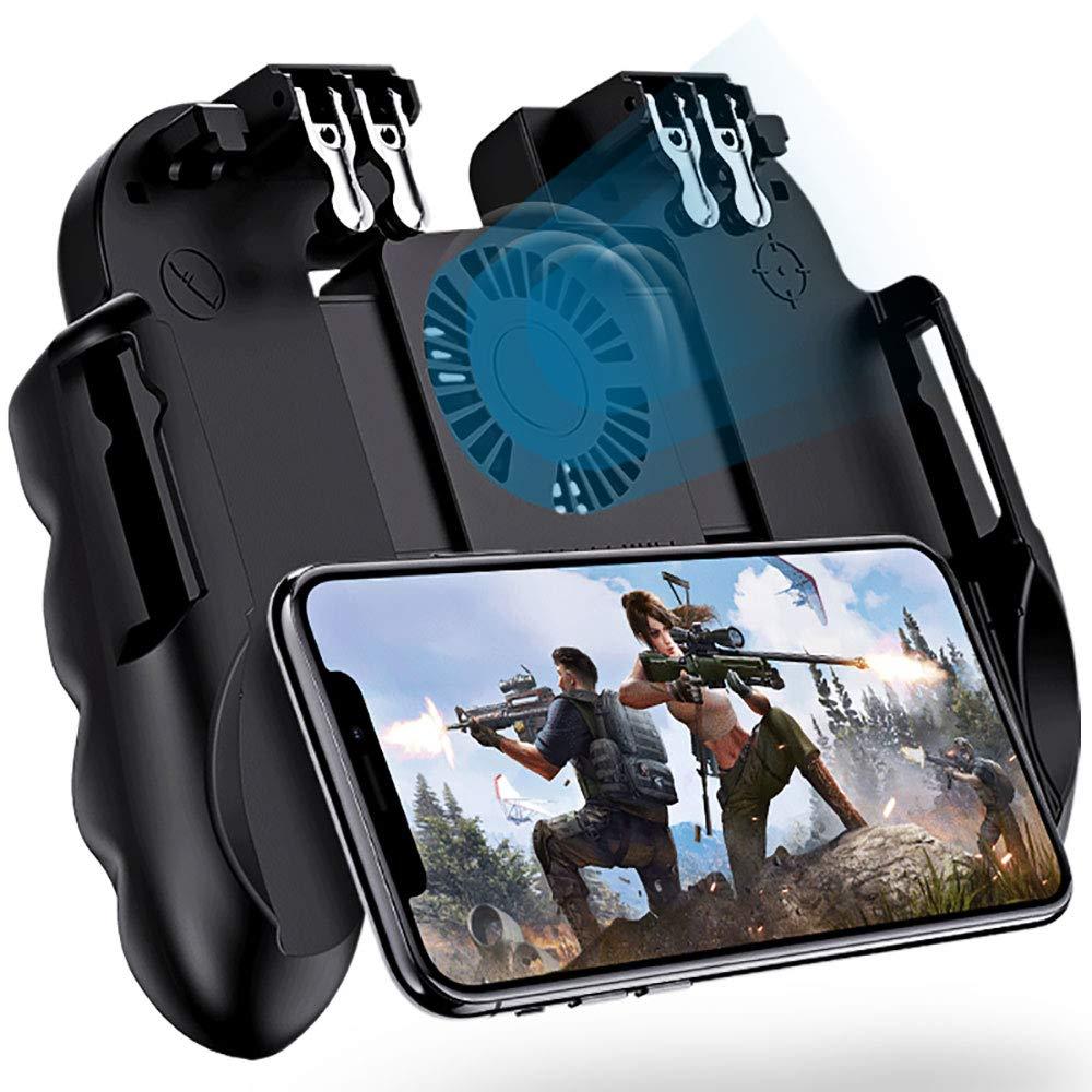 6-пальцевый универсальный контроллер для мобильных игр, кнопка огня для PUBG, триггеры, контроллер для мобильных игр с охлаждающим вентилятор...