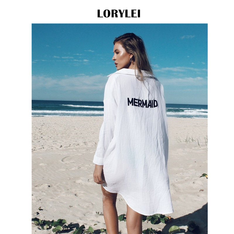 Front Short Back Long Mermaid Print Beach Top Shirt Dress White Cotton Tunic Women Summer Beachwear Bathing Suit Cover Ups N324