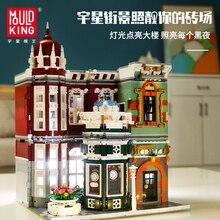 MOC şehir sokak tuğla antika koleksiyonu dükkanı ile uyumlu lepined yaratıcı 10185 yeşil Grocer modeli yapı taşları DIY oyuncaklar