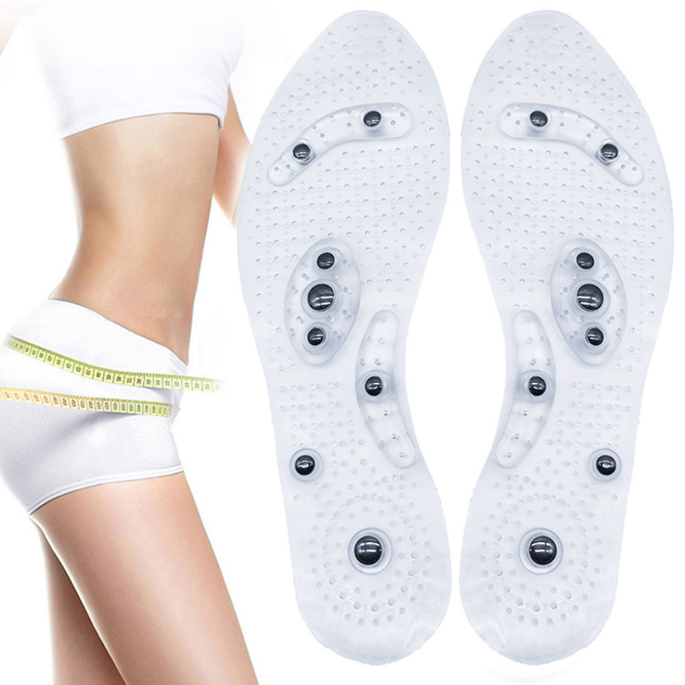 Unisex Magnetic Therapy Massage Insoles Foot Acupressure Shoe Pads Therapy Slimming Insoles For Weight Loss Transparent