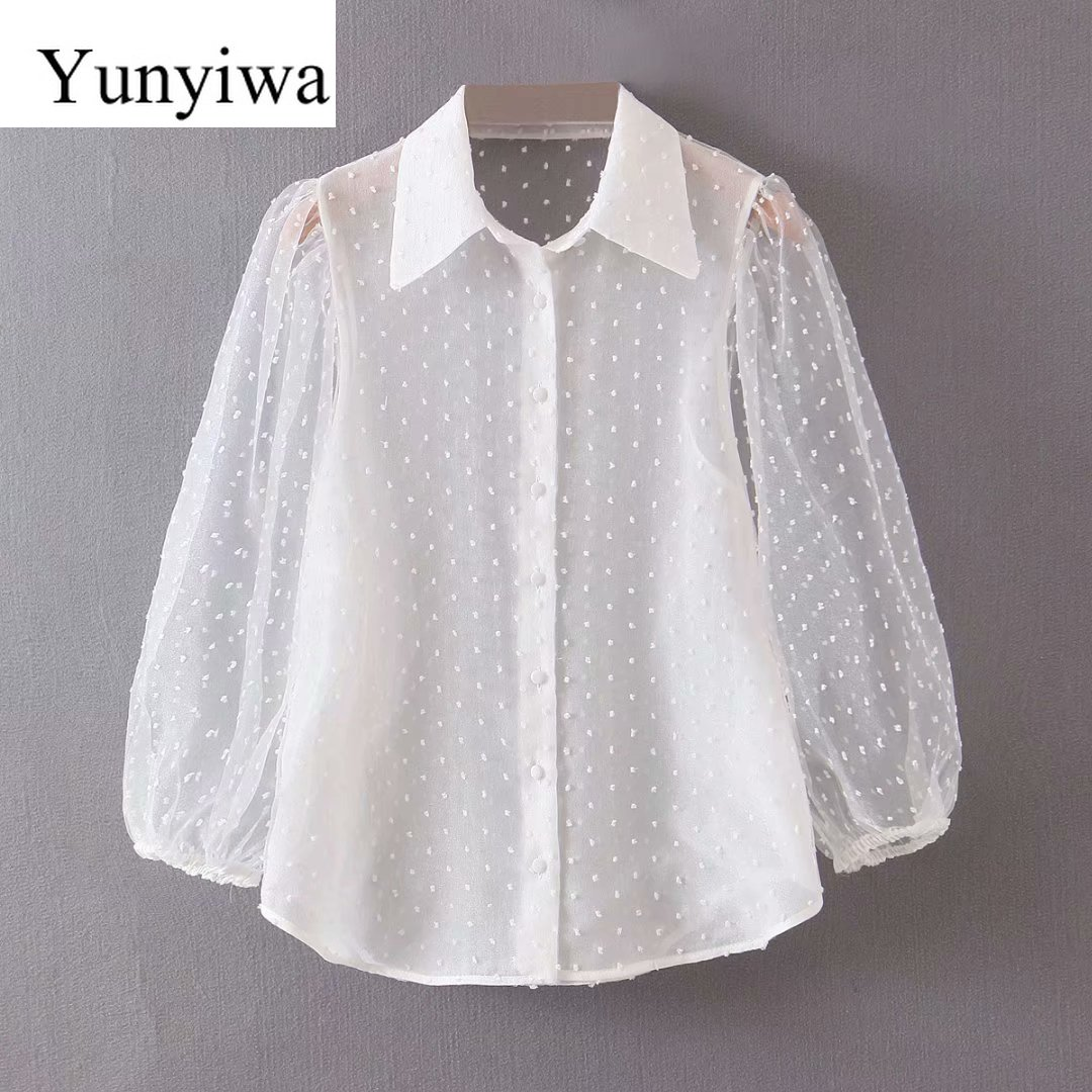 2020 Women's Polking Tulle Long-sleeved White Shirt Womens Blouse Vintage Party Shirts Tops Clothing Blusas Mujer