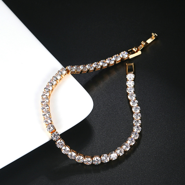 ZHOUYANG Tennis Bracelets For Women Simple Luxury Round Crystal Gold Color Bangle Chain Wedding Girl Gift Wholesale Jewelry H074 2