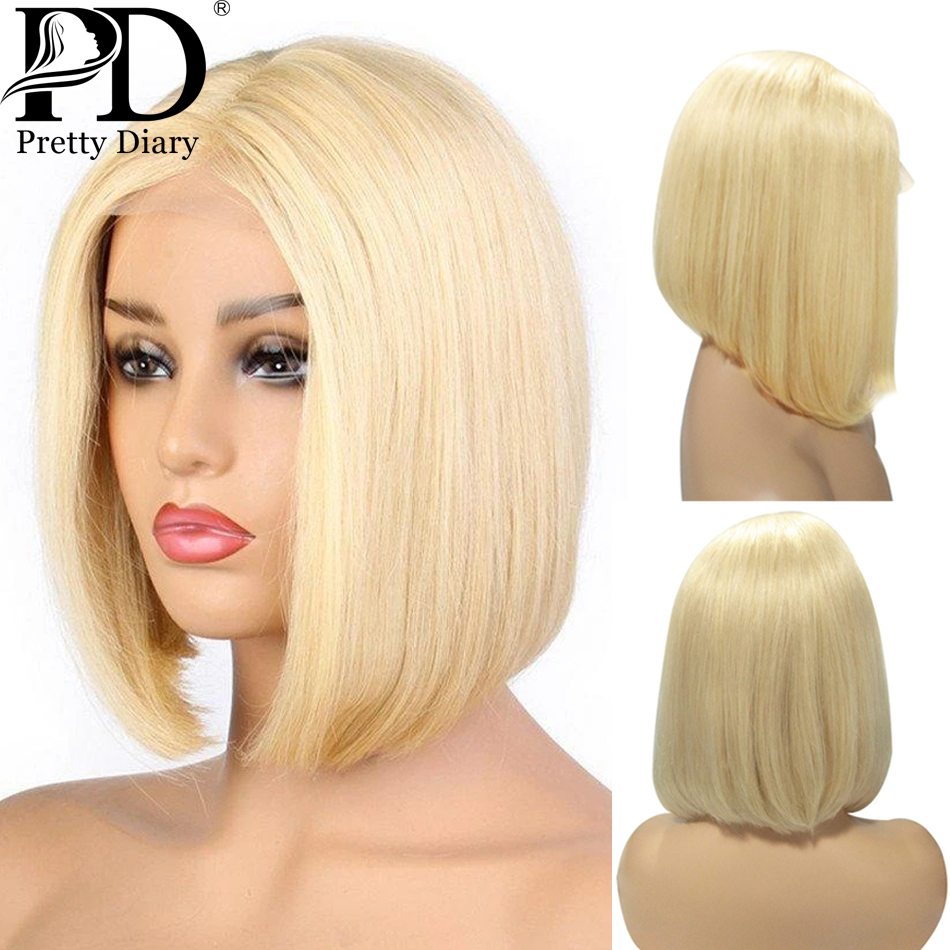 613 Blonde 13X6 HD Transparent Lace Front Human Hair Wigs Straight Brazilian Short Bob Ombre Frontal Hair Wigs for Black Women image