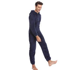 Image 3 - Мужская плюшевая флисовая Пижама теплая зимняя Пижама комбинезон костюмы Женская одежда для сна кигуруми пижамные комплекты с капюшоном для взрослых мужчин