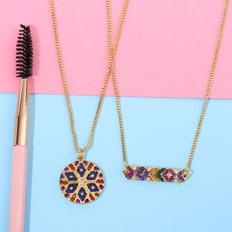 2019 New Rainbow CZ Turkish Eye Necklace For Woman Fashion Zirconia Gold Round Long Chain Pendant Necklace Charm Jewelry
