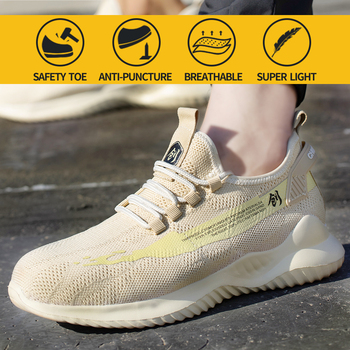 Work Safety Shoes Men Steel Toe Boots Indestructible Construction Sneakers Anti-smashing Puncture-Proof Soft Breathable womem suadeex work safety shoes breathable mesh construction men steel toe sneakers anti smashing puncture proof security boots 36 48
