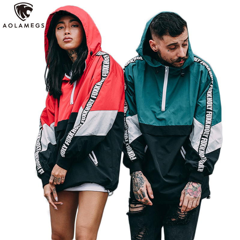 Aolamegs Jackets Men Patchwork Color Hooded Pullover Jacket Zipper Tracksuit Fashion Coats Hip Hop Male Streetwear Autumn Couple