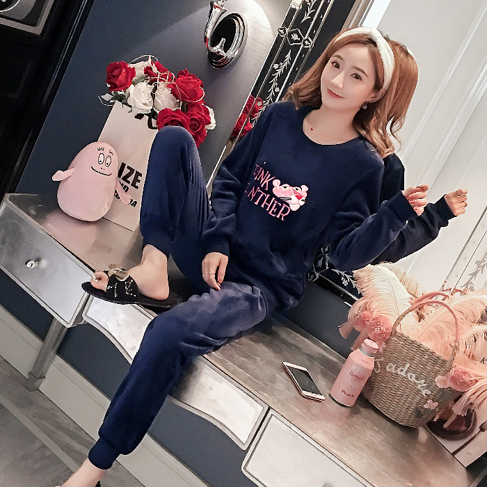 Flannel Warm Pajamas For Women Long Sleeve House Suit Ladies Round Neck Full Length Velvet Pajamas Thick Pijamas Feminino