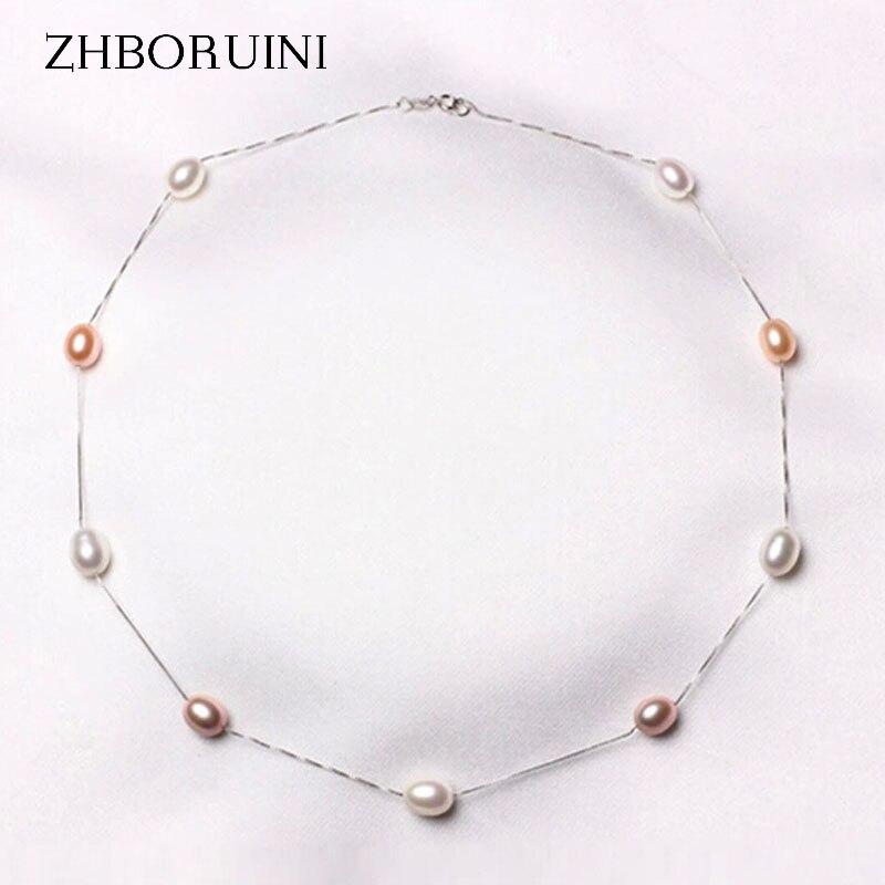ZHBORUINI Fine Pearl Necklace 925 Sterling Silver Pearl Jewelry Natural Freshwater Pearl Choker Pendants Jewelry For Women Gift