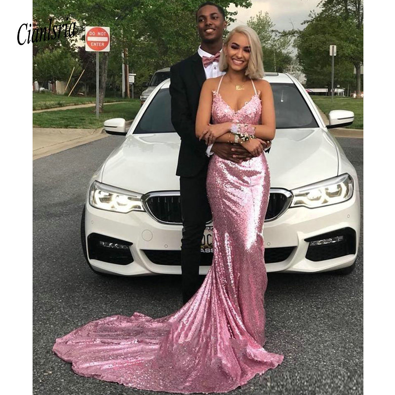 Halter Sweetehart   Prom     Dresses   with Applique Sexy Backless Long Sweep Sequined Evening Gowns Maid of Honor   Dress
