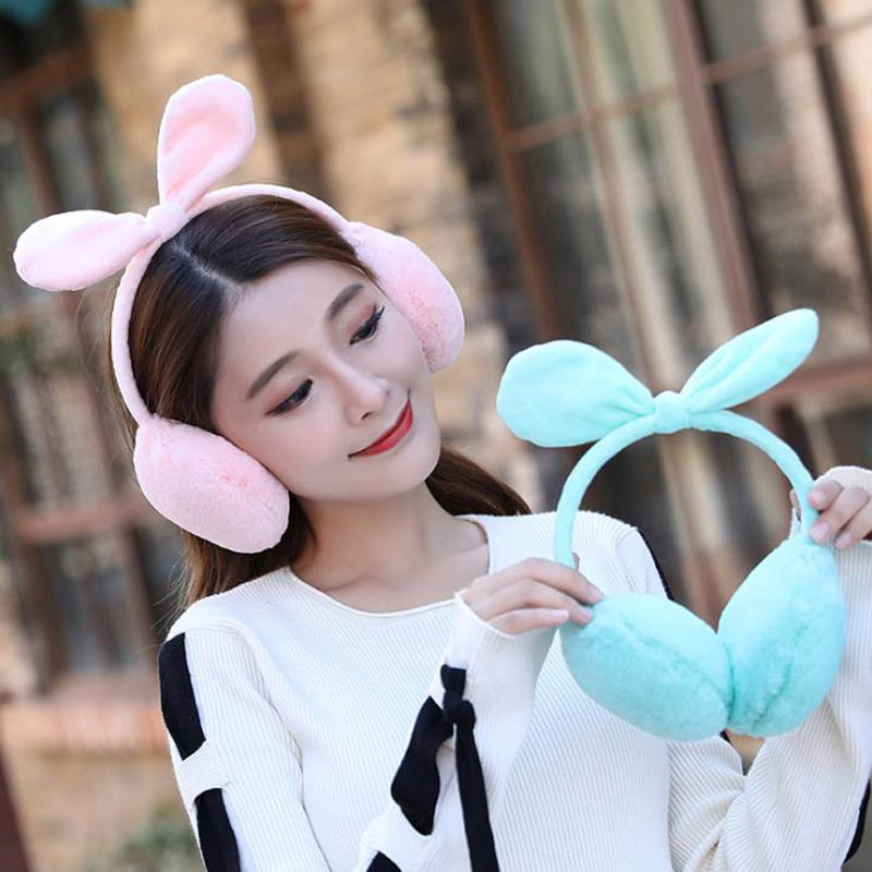 Calymel Winter Cute Rabbit Ears Bow Earmuffs Thick Student Ear Muffs Warm Fur Headphones For Women Girls Winter Accessories