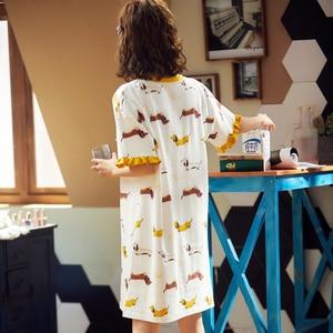 Image 5 - BZEL לבן נשים של פיג מות אביב קיץ הלבשת קצר שרוול גבירותיי לילה שמלת כותנה כתונת הלילה כתונת לילה חדש Cartoon הלבשה תחתונה