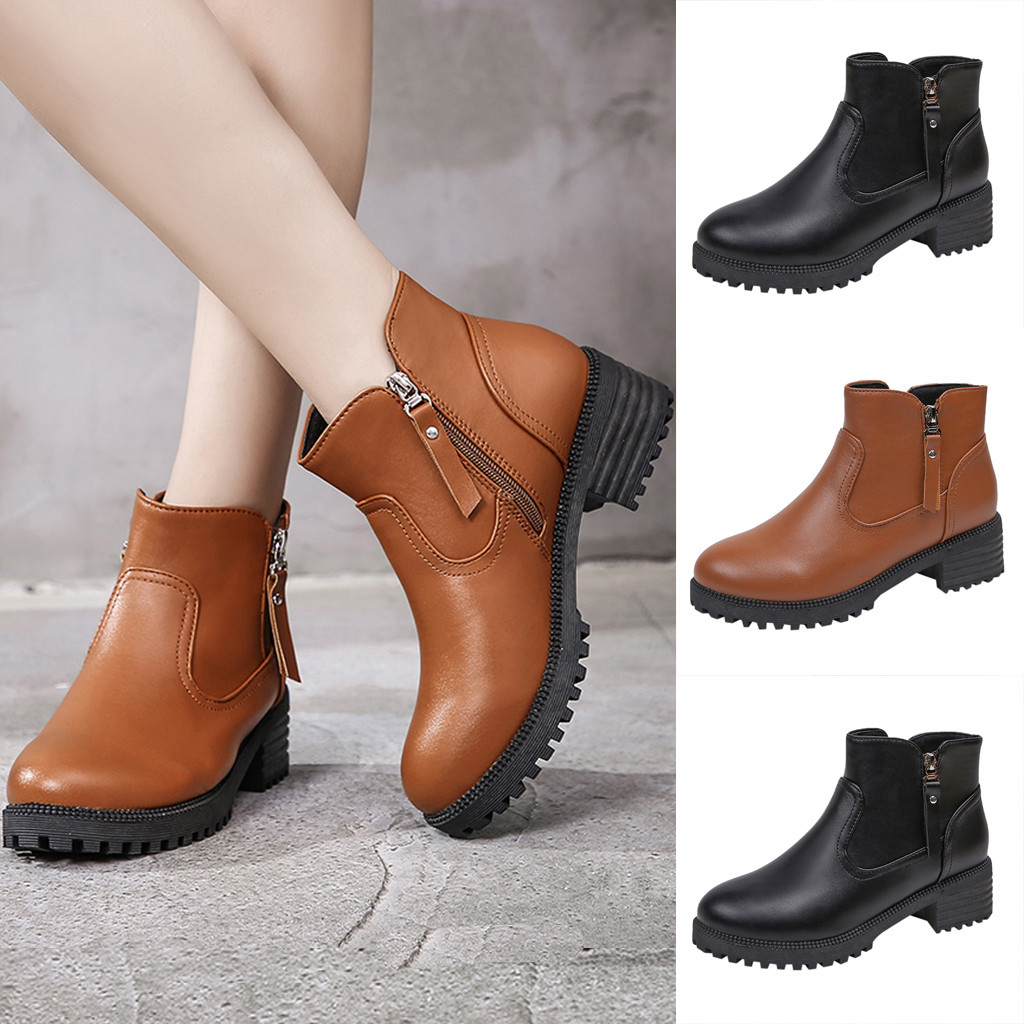 Boots Autumn Winter 2020 NEW Women's Fashion Round Toe Shoes Large Size Short Boots Double Zipper Ladies Boot Ankle Boots #O18