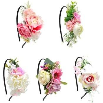 Diadema de flores bohemias para niñas, diadema Floral Artificial, diadema para niñas, accesorios para el pelo de aro de pelo para bebés recién nacidos y niños