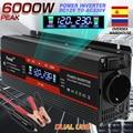 6000W power Inverter DC 12V zu AC 220V Spannung Konverter Transformator 2 USB auto solar Transformator Konvertieren EU buchse
