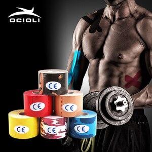 Image 1 - Кинезиологическая лента для спорта, кинезиотейп, Стикеры для мышц, рулон хлопка, эластичный клей, поддержка травм от растяжения, 6 шт.