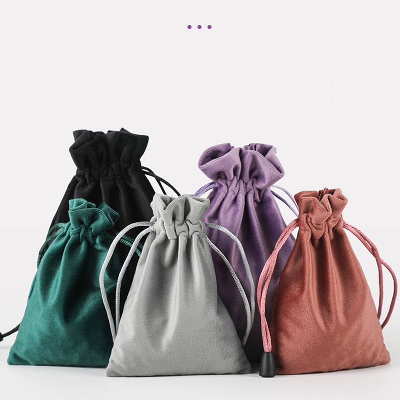 20pcs/lot High Quality 10x15cm Black/Purple/Brown/Grey/Green Velvet Drawstrings Pouches Jewelry Gift Bag