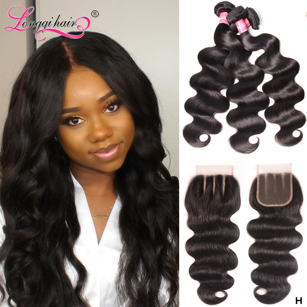 Longqi Hair Body Wave Bundles With Closure Peruvian Hair Bundles With Closure Remy Human Hair Bundles With Closure 4pcs/lot