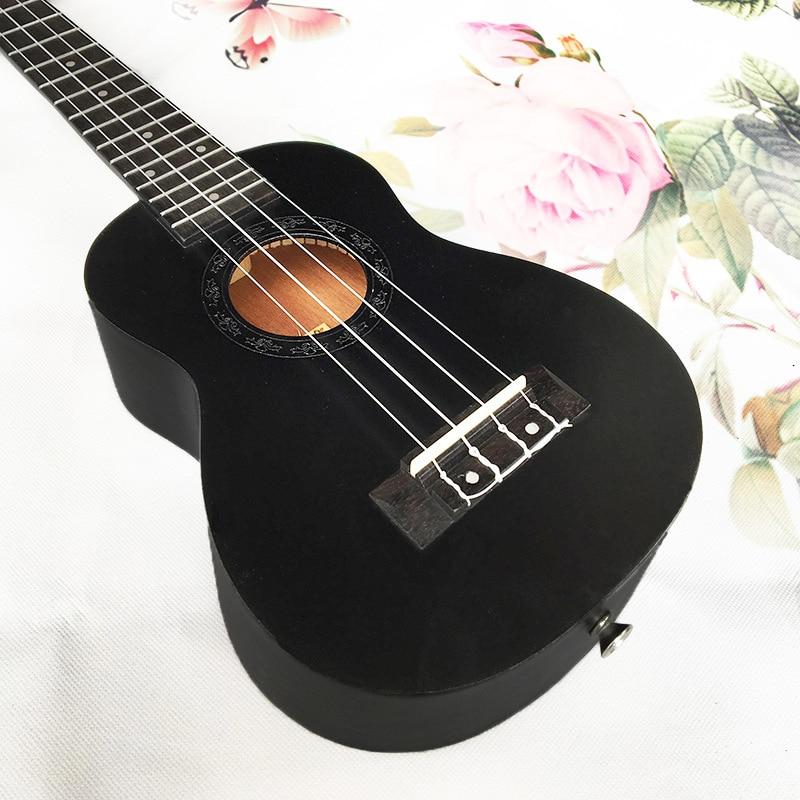 21 pouces noir et blanc avec motif en acajou ukulélé Hawaii quatre cordes petites piques de guitare - 2