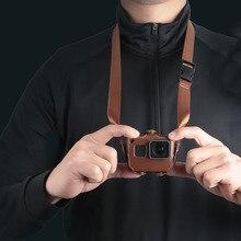 Capa protetora para gopro hero 7 6, capa de proteção em couro pu preto, edição, para go pro hero 7 6 acessórios da câmera de ação 5