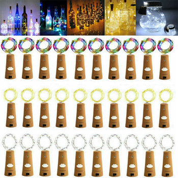 5/10pcs Garland Wine Bottle Fairy String Lights 20 LED Battery Cork Copper Wire String Light For Christmas Party Wedding Decor 1