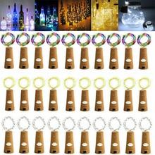 5/10 шт. Гирлянда для винных бутылок, Волшебная гирлянда светильник s 20 LED Батарея Корк Медный провод шнура светильник для рождественской вече...