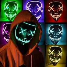 feecolor 2019 Newest LED Light Halloween Party Terror Mask Flashy Luminous Ghost Cool Movie EL Wire DJ Festival Decor