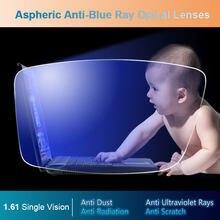 1.61 anti-azul ray única visão asférica lentes ópticas prescrição óculos lente de grau de visão para óculos quadro