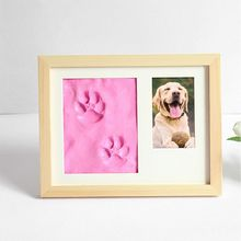Pets Paw Prints Keepsake Photo Frame Memorial Clay Imprint Kit for Dog Pet Lover