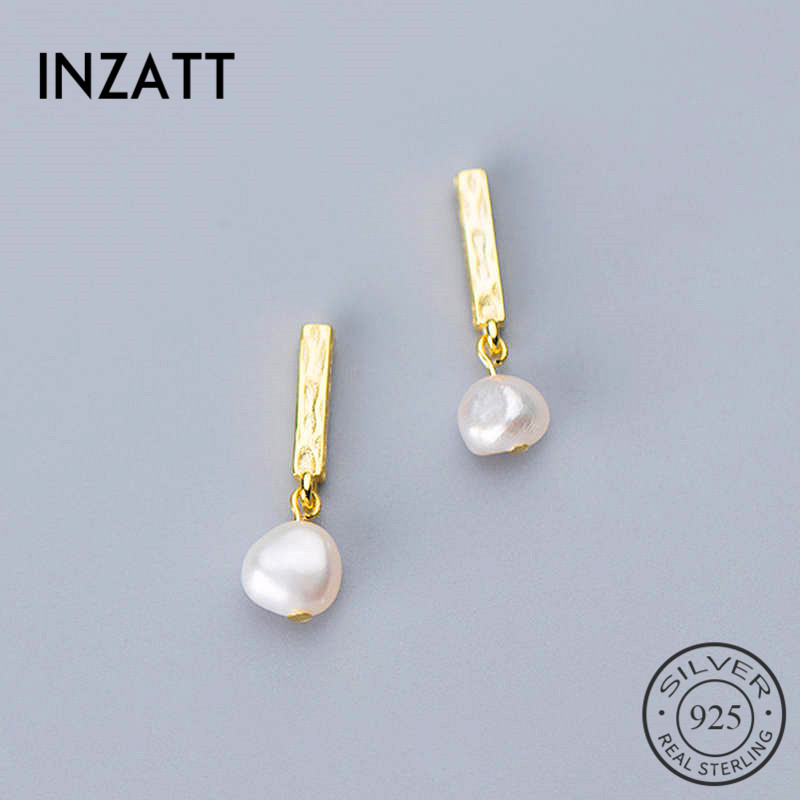 INZATT Real 925 Sterling Silver BaroquePearl Stud Earrings For Fashion Moon Women Party Minimalist Fine Jewelry Accessories Gift