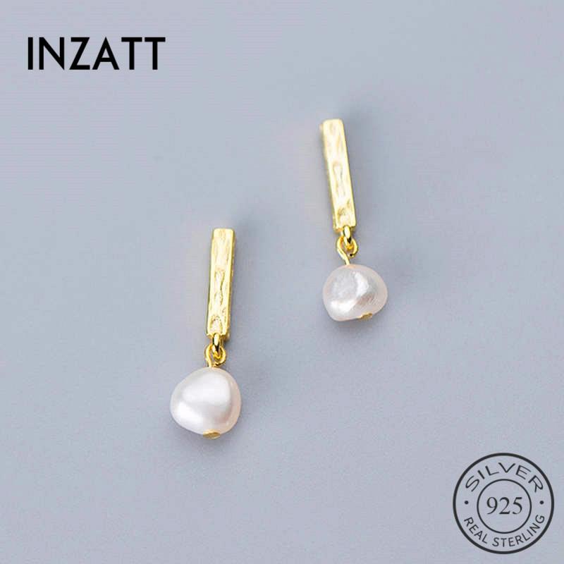 INZATT Real 925 Sterling Silver BaroquePearl Stud Earrings For Fashion Moon Women Party Minimalist Fine Jewelry Accessories Gift