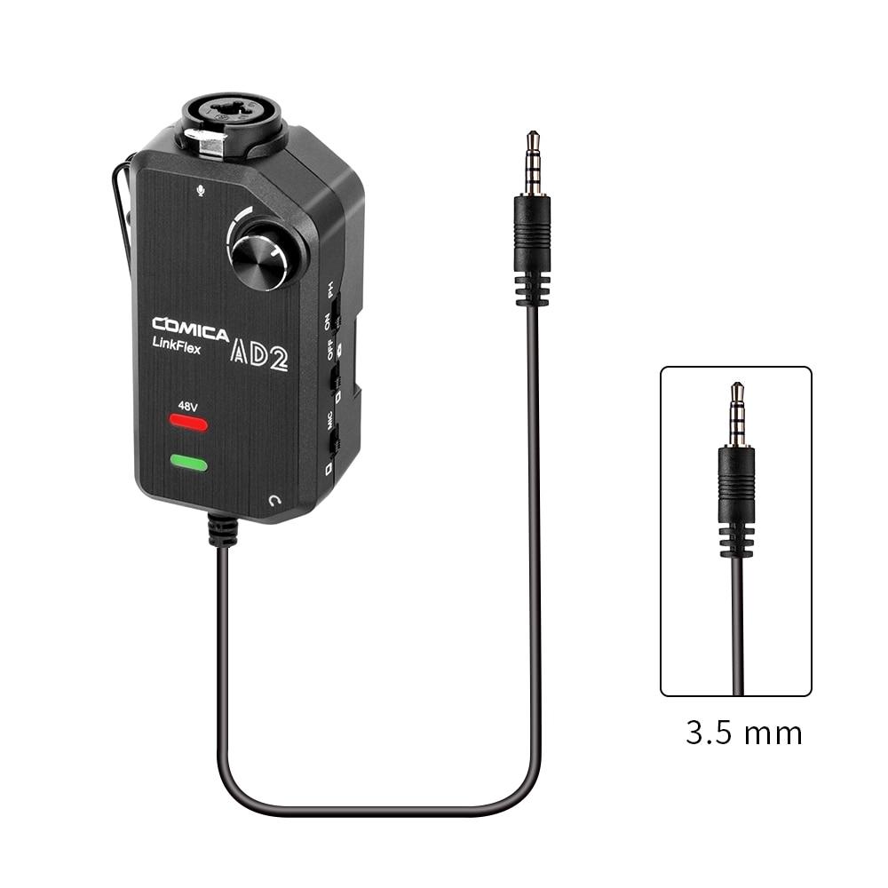 COMICA LinkFlex AD2 XLR/6,35mm a 3,5mm Adaptador de Audio preamplificador con Phantom Power para iPhone/Android/Nikon/cámara Canon y guitarra