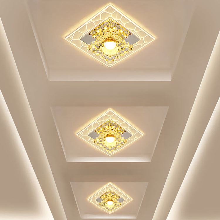 LED Corridor Aisle Lights Embedded Party Grille Ceiling Light Ceiling Spotlights Openings 5678 Centimeters Crystal Lamp