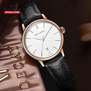 Image 4 - 2020 Чайка новые мужские часы бизнес простые автоматические механические часы кожаный ремень календарь Сапфир Мужские часы 519.12.6021
