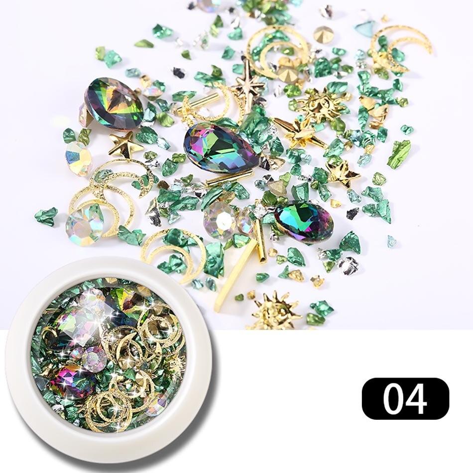 MORDDA 1 Box Nail Rhinestone Crystal Nail Accessories For Nails 3D Nail Art Mixed Decoration Gems Need Nail Gel Polish