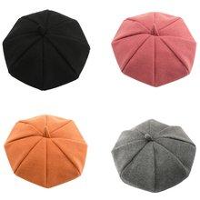 Зимняя кофта для девочек вязаный берет шапка одноцветная Цвет
