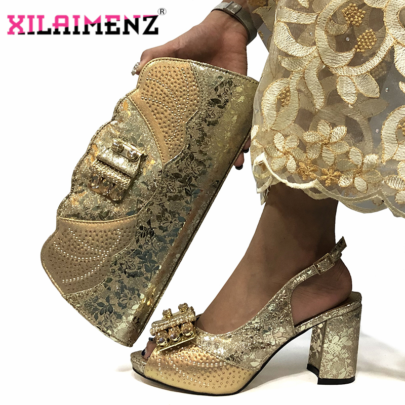 Image 2 - Magenta Color New Design Italian Women Shoes and Bag Set African 
