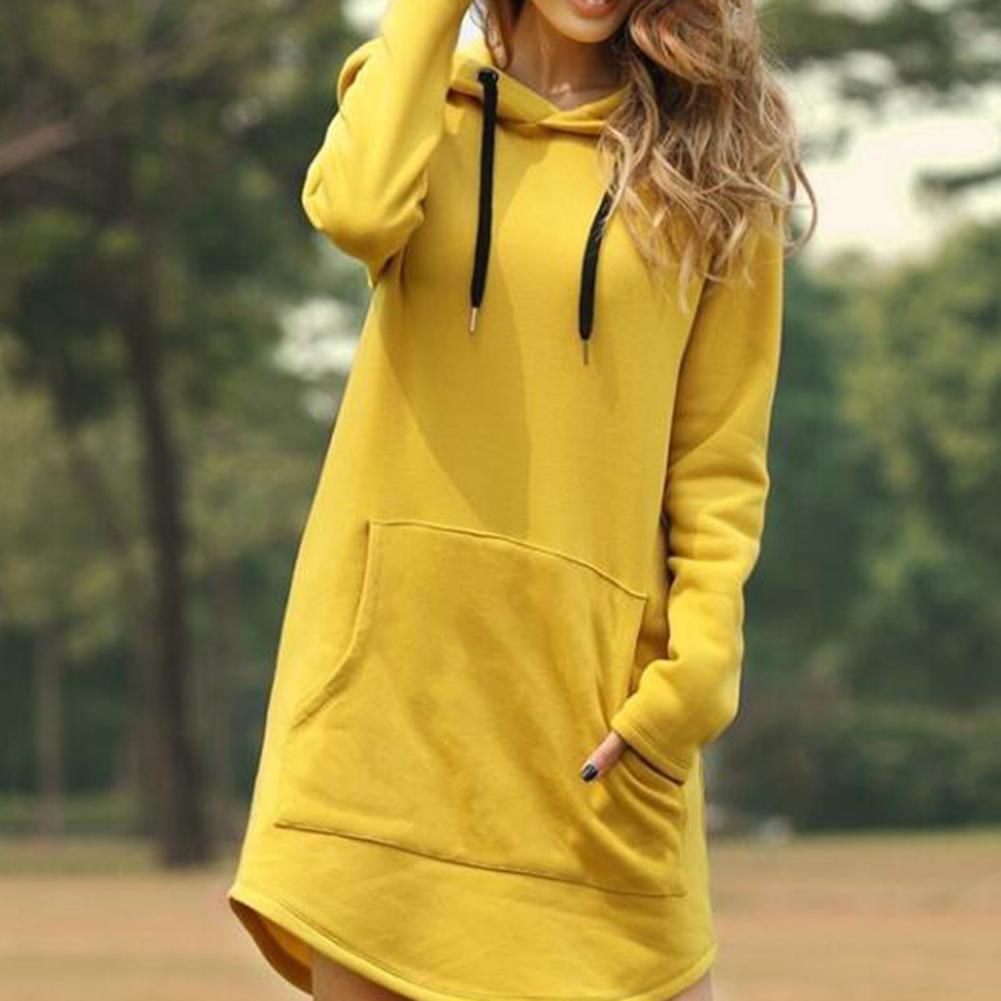Hoodies Dress Women Autumn Winter Casual Sweatshirt 2019 New Ladies Long Sleeve  Pocket Pullover Mini Dress 6 Color