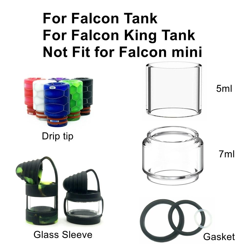 HXJVAPE Original Bubble Pyrex Glass Tube Gasket Vape Accessories Drip Tip 510 For Horizon Falcon Tank / Falcon King 7ml Atomizer