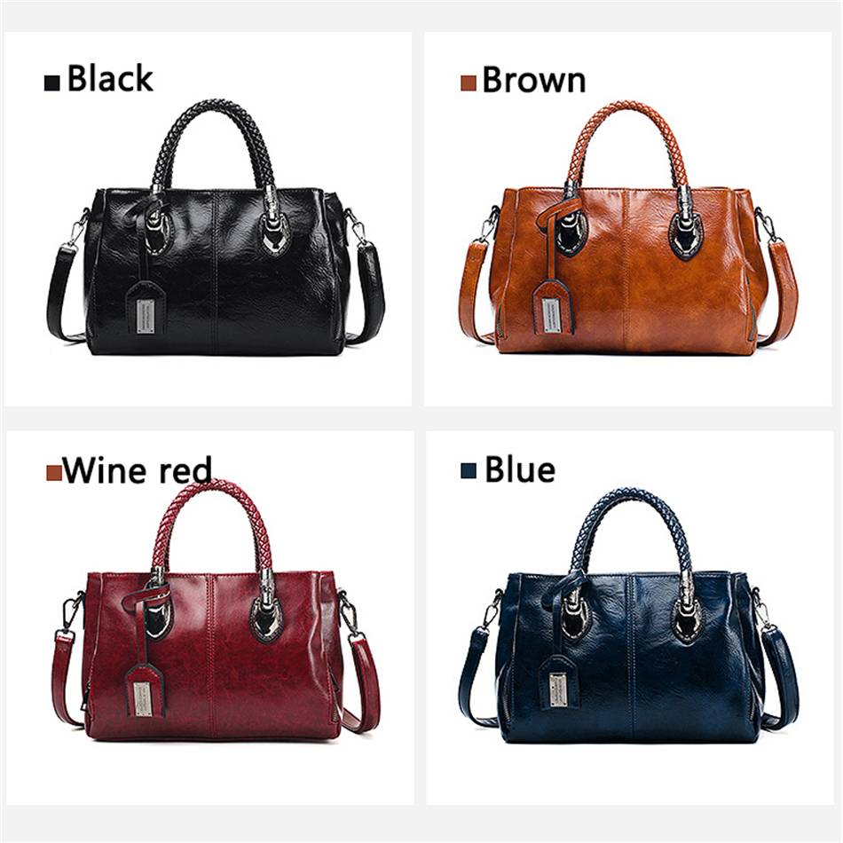 Vintage Oil Wax leather luxury handbags women bags designer ladies hand bags for women 2019 bag sac a main Femme Bolsa Feminina 3