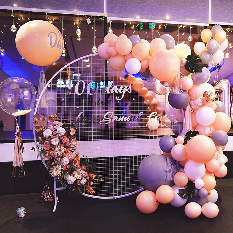 Wedding Arch Home Party Backdrop Stand Round Grid Iron Arch Mesh Gold White Black Grid Geometry Shelf