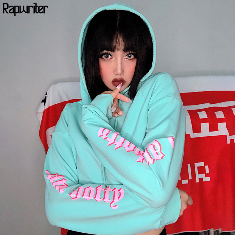 Rapwriter Streetwear Raglan Long Sleeve Loose Panelled Letter Hoodies Sweatshirt Women 2019 Fall Green Hip Hop Harajuku Crop Top