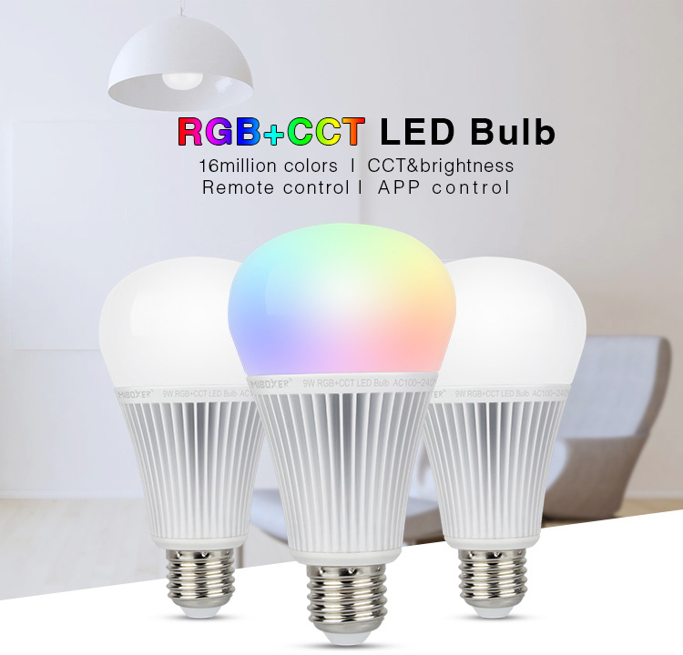 Miboxer LED Bulb <font><b>FUT012</b></font> E27 light AC100~240V Smart led lamp 2.4G Remote /APP Control 9W RGB+CCT image
