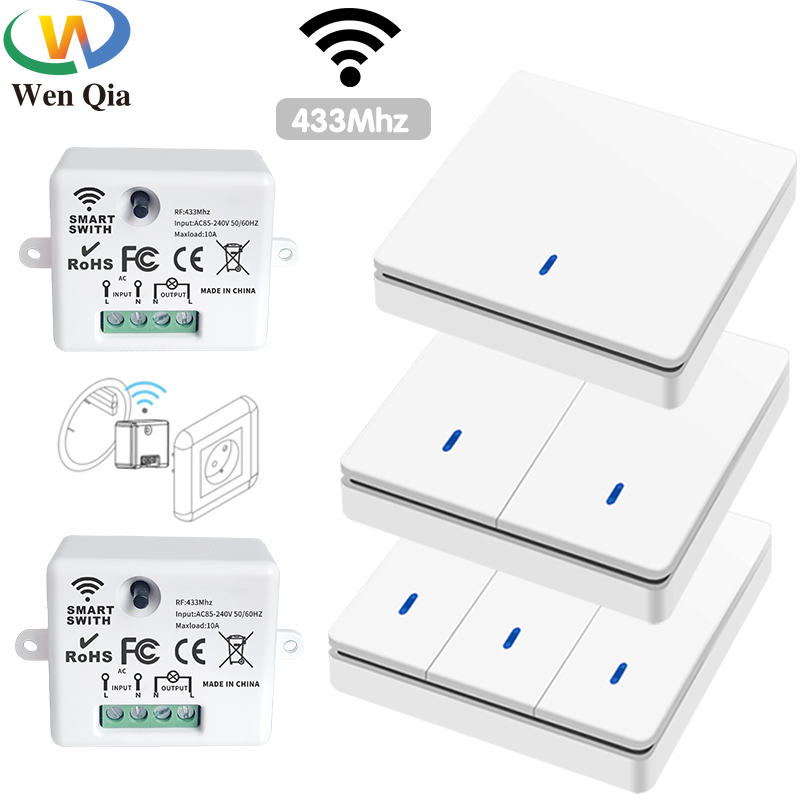 Wireless Smart Switch Light 433Mhz RF 86 Wall Panel Switch with Remote Control Mini Relay Receiver 220V Home Led Light Lamp Fan